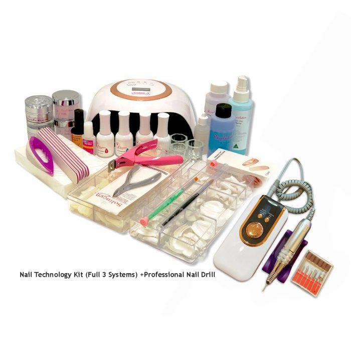 Nail Technology Kit Full 3 Systems Professional Nail Drill